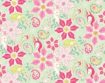 Christmas Dear Holiday Fabric Endearing Poinsettias Pink Flowers
