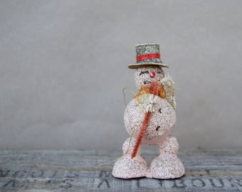 Vintage Christmas Pink Snowman . Composition . Cotton . Japan . Christmas Decor. Ornament 1950s/Christmas Collectible