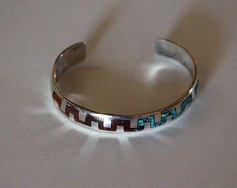 Silver Navajo Bracelet Inlaid Ortega