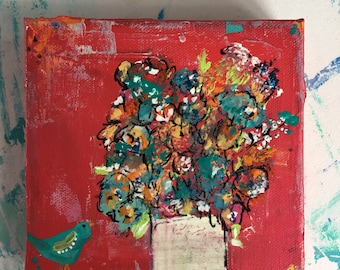 6 x 6 floral art, abstract flowers, flower painting , original painting , reds and teals, bird