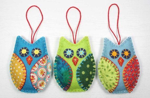 Owl PDF pattern Felt owl ornament pattern Owl sewing