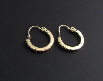 Victorian 14K Gold Hoop Earrings, 14K Gold Earrings, Gold Hoop Earrings, Victorian Earrings, Victorian Hoop Earrings, Small Hoop Earrings