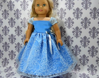 18 inch doll clothes made to fit dolls such as American Girl, Blue Party Fancy Gown Dress, 6-2135, 06-2137