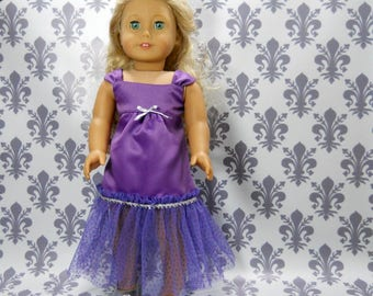 18 inch doll clothes made to fit dolls such as American Girl, Purple Party Fancy Gown Dress, 06-2139