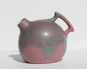Vintage Mid Century Modern Pink Drip Glaze Camark Art Pottery Jug Vase