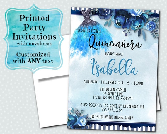 printed party invitations invites with envelopes watercolor