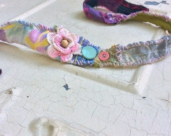 Pretty Floral Boho Headband with Vintage Pink Flower Upcycled Textile Art