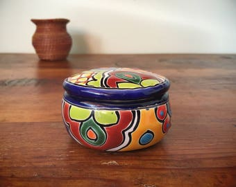 Vintage Talavera colorful ceramic trinket box with lid young girl birthday gift