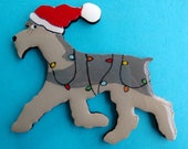 Schnauzer Christmas Pin, Magnet or Ornament - Free Shipping -Color Choice -Hand Painted- Free Personalization Available