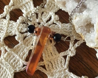Orange Aura Crystal Pendant Necklace