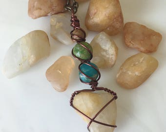 Quartz Lake Tahoe Beach Pebble Wire Wrapped  Pendant Necklace