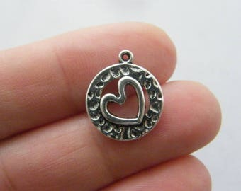10 Heart charms antique silver tone H95
