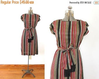 ON SALE 60s Dress / 1960s Red and Black Striped Wiggle Shift Secretary Dress