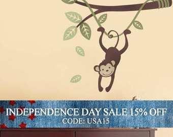 Independence Day Sale - Monkey Hanging on a Branch Vine - Kids Vinyl Wall Sticker Decal Set