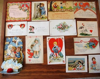 14 Antique Valentine Lot Valentine Post Cards Fold Out Crepe Germany 1920's & 1930's