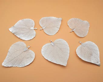 Nature Tree Leaf Charm - Heart Shape, Vein Leaves, Silver Leaf,  Real Nature Leaf Pendant, Metal Plated Natural Leaf, Filigree Leaf Charm
