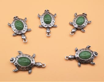 Rhinestone Turtle Charms - Turtle Charm, Antique Silver, Hollow Carved Charm, Gemstone Charm, Green Gemstone, Green Rhinestone, Money Symbol