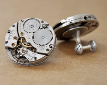 steampunk cufflinks SAPPHIRE Waltham 15 ruby jeweled watch movement cuff links sterling silver, handmade steam punk cufflinks