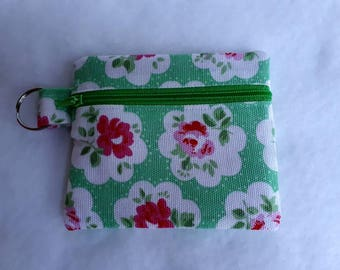 CATH KIDSTON Green Provence Rose fabric Zippered (Zipped) Earphone (Ear bud) pouch/ Coin Purse Make Up, brushes, Gift Keyring handbag tidy