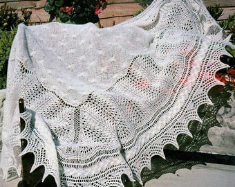 Vintage Knitting Pattern PDF to make A Superb Shetland Lace Shawl for Baby's Christening 60'' square in 2 ply PDF  Digital Download
