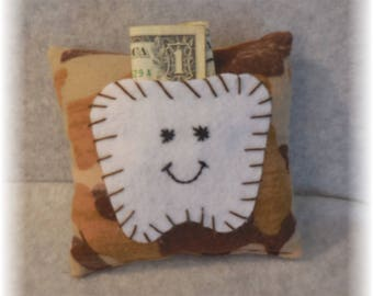 Tooth Fairy Pillow Handmade Tooth Pillow Tooth Holder Tooth Fairy Pillows Handmade fabric tooth fairy pillow with felt tooth pocket