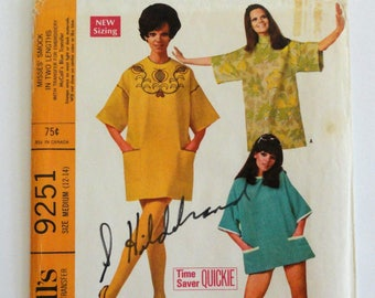 1960s T square smock pattern, retro dress, beach cover up, uncut vintage sewing pattern McCalls 9251 misses size medium 12, 14 bust 34, 36