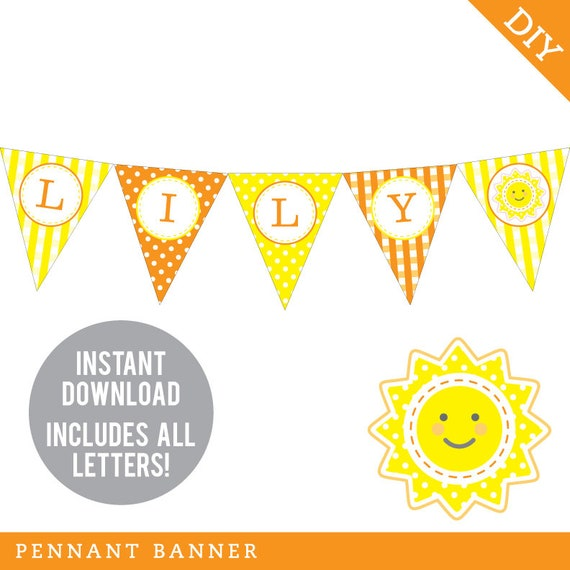 Instant Download Sunshine Birthday Party Banner Orange And Yellow