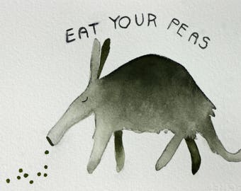 Anteater and peas, original watercolor, simple, whimsical, children's art, grey and green, kitchen art, eat your vegetables, green peas