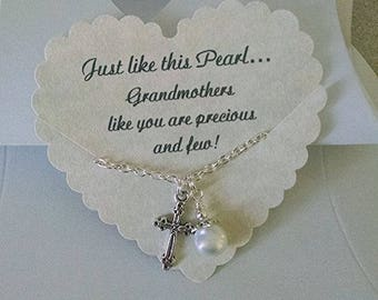 Gift For Godmother, Pearl Necklace, Godmother Necklace, Godmother Jewelry, Birthday Gift,  Happy Mothers Day Godmother, 18 Inch Chain