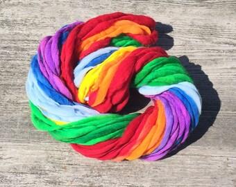 Self striping rainbow yarn, 60 yards, handspun super bulky in merino wool - 3.6 ounces/ 102 grams
