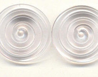 19mm range, Tom's handmade lampwork pale rose 2 disc spacer/drop set, 1 pair  96605-1