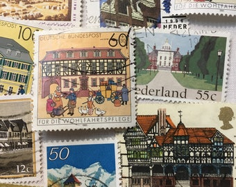 50 Postage Stamps, Architecture, Vintage Stamps, Buildings, Stamps, Used Stamps.