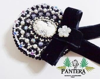 Cameo brooch, Burlesque brooch, embroidered brooch, black brooch, vintage brooch, gothic brooch, punk brooch, beaded brooch, victorian pin