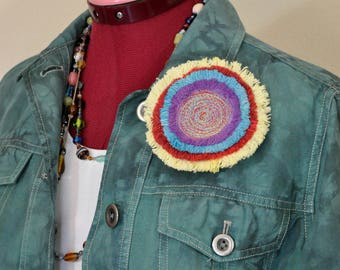"""Yellow Red Dyed Fringed Denim Brooch PIN CLIP - Purple Aqua Blue Red Yellow Denim Circle Corsage Brooch 4"""" Pin - 70"""