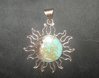 925 Sterling SILVER Turquoise SUN And Moon Pendant Necklace
