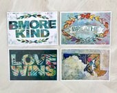 Postcard set of 12. Three of each design. Bmore Kind, Love Wins, Breathe & Maryland Silhouette.