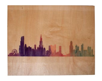 Chicago Skyline Art Print on Wood in Purples