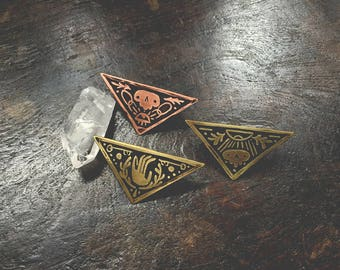 Skull and Bones - Brass or Copper Sigil Pin - Handmade One of a Kind