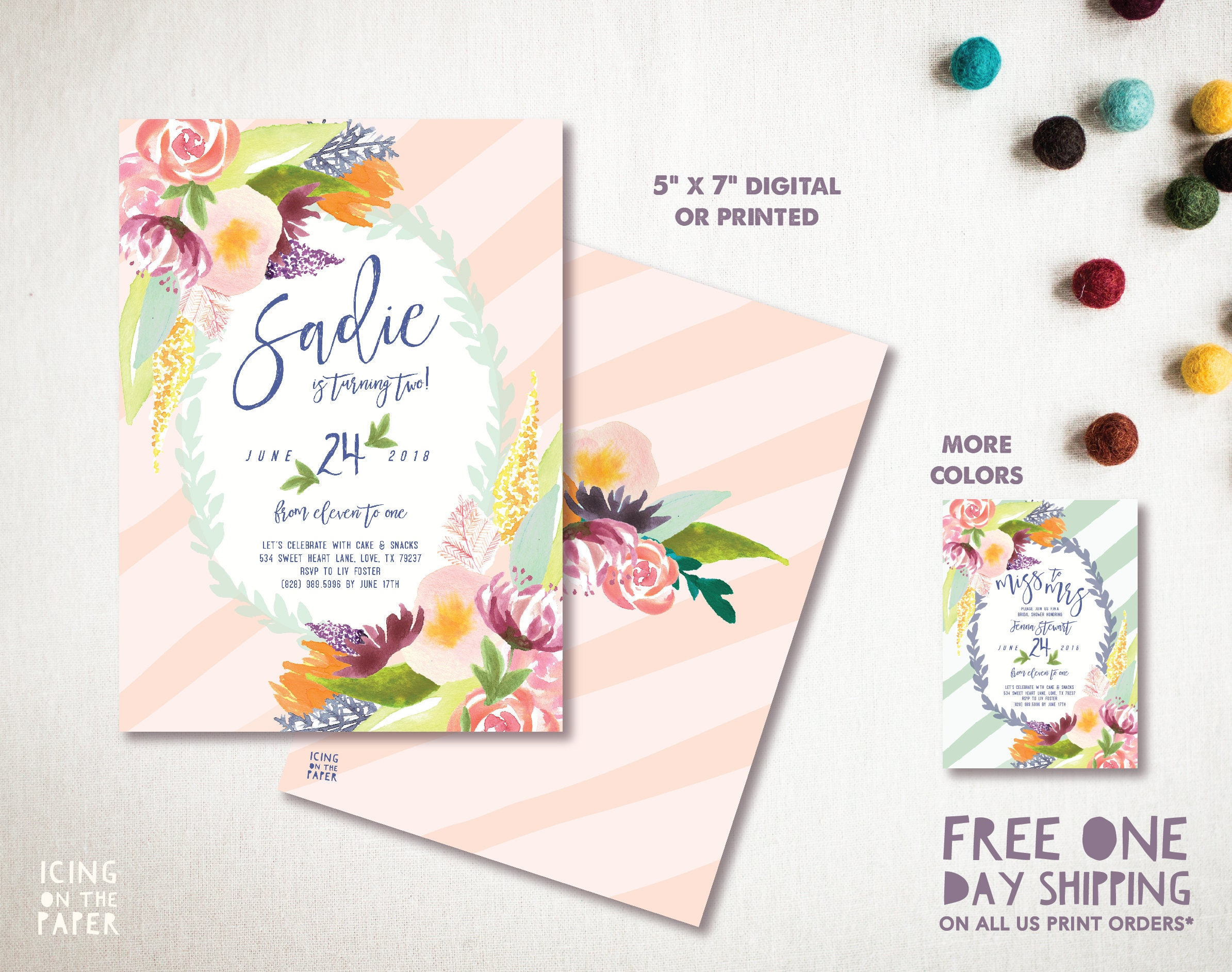 Painted Flowers First Birthday Invitation Invite Party Watercolor ...