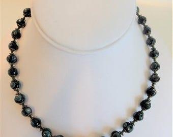 ON SALE Pretty Vintage 1970's Black Glass Bead Necklace