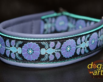 "Dog Collar ""Heart Flower"" by dogs-art, floral dog collar, slip dog collar, dog collar leather, boy dog collar, girl dog collar, dog collar"