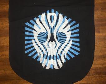Ancestral Skull Banner Silver and Blue on Black