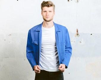 Moleskin Work Jacket . Mens Vintage Chore Coat Faded Distressed Jacket Indigo Blue Workwear Car Mechanic Blazer Hipster Outfit. size XL