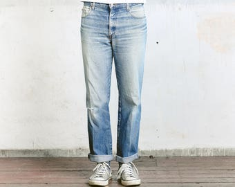 Men's LEE Cooper Jeans . Faded Distressed Ripper Jeans W34 Vintage Denim Straight Leg Jeans High Waisted Boyfriend Jeans Relaxed Fit Jeans