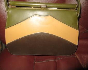 RETRO mod  1960S 3 tone vinyl kelly handbag     new condition  by GALA