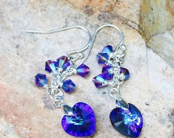 Crystal Heart Earrings, Swarovski Crystal Earrings, Purple And Blue Crystal Earrings, Heliotrope Crystal Earrings, Sterling Silver Earwires