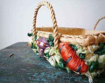 Vintage Woven Raffia Casserole Holder, Rectangle Vegetable Basket With  Handles Made In Phillipines, SALE