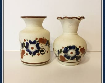 Pair of Mexican Vases, Artist Initials, Ceramic, Pottery, Handpainted, Folk Art,  Vintage 1980's