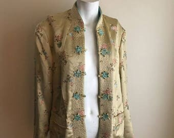 SUMMER SALE 50s 60s Champagne Yellow and Turquoise Blue Reversible Vintage Silk Jacket • Chinese Silk • Free Size