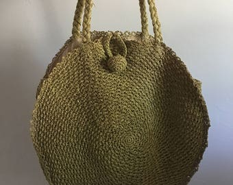 1950s Japanese Straw Bag Purse